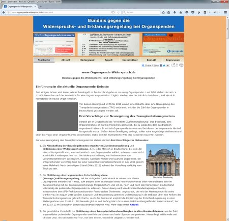 Screenshot Webseite www.organspende-widerspruch vom Bündnis gegen die Widerspruchs- und Erklärungsregelung bei Organspenden.