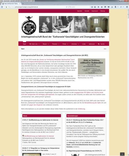 """Screenshot Referenz Webseitenerstellung Arbeitsgemeinschaft Bund der """"Euthanasie""""-Geschädigten und Zwangssterilisierten"""