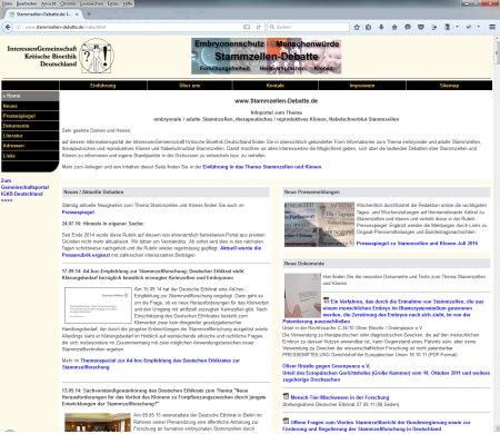 Screenshot Referenz Infowebseite www.stammzellen-debatte.de